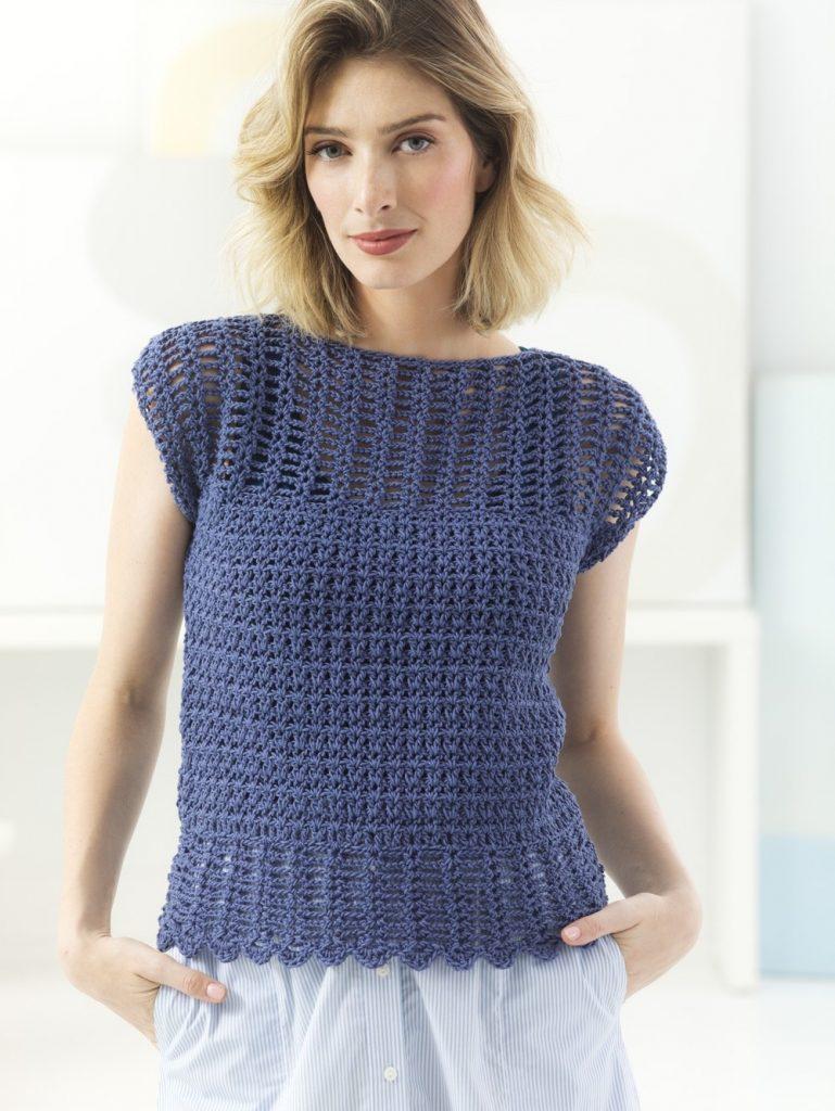 Free Ladies Crochet Pattern for an Openwork Top.