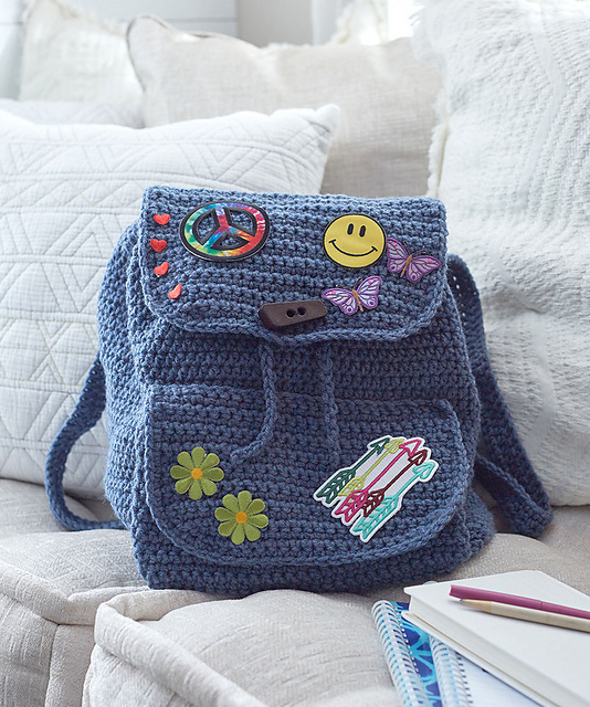 Patch Backpack Free Crochet Pattern ⋆ Crochet Kingdom Extraordinary Free Backpack Pattern