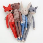 Free Amigurumi Patterns for a Rabbit, Bear, Fox, Wolf & Monkey.