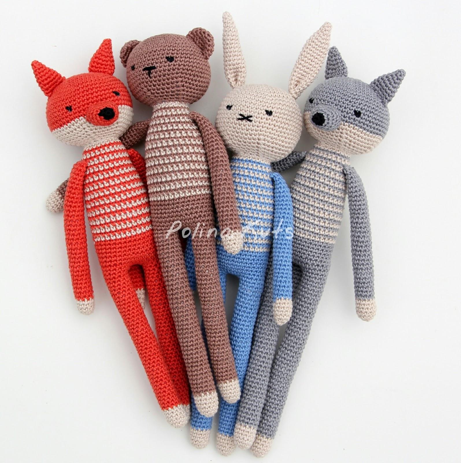 Free Amigurumi Patterns For A Rabbit Bear Fox Wolf