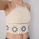 Free Crochet Pattern for Hepatica Granny Halter Top.