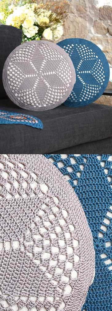 Free Crochet Pattern for a Circular Cushion.