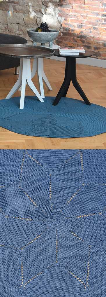 Free Crochet Pattern for a Circular Mat. Round rug crochet pattern with star motif.