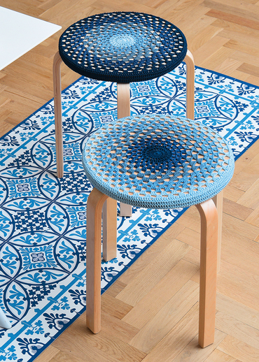 Free Crochet Pattern for a Stool Cover.
