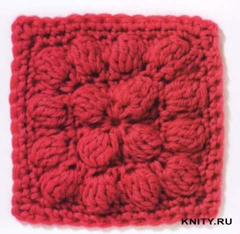 Bobble Crochet Square Free Pattern