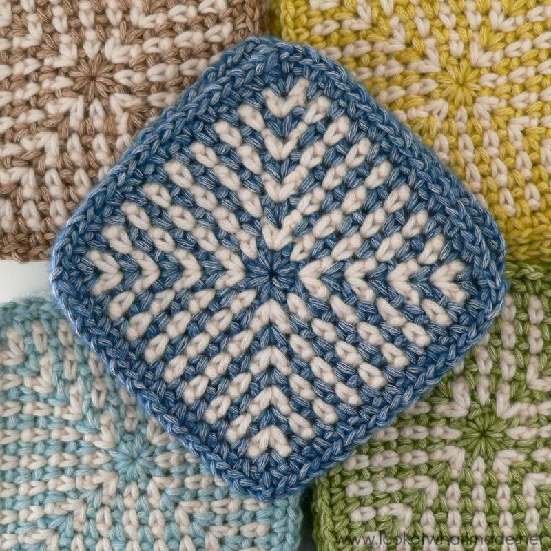 Free Crochet Pattern for a Two-Colour Linen Stitch Square