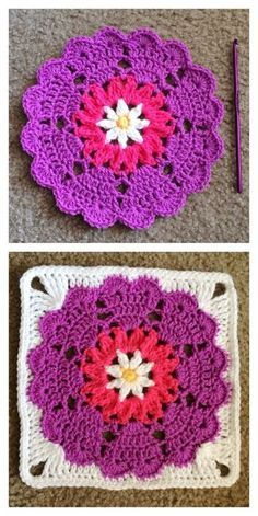 Heart Mandala Octagon to Square Free Crochet Pattern