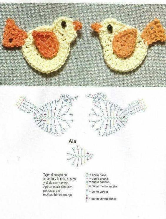 Crochet Birds Motifs Free Applique ⋆ Crochet Kingdom