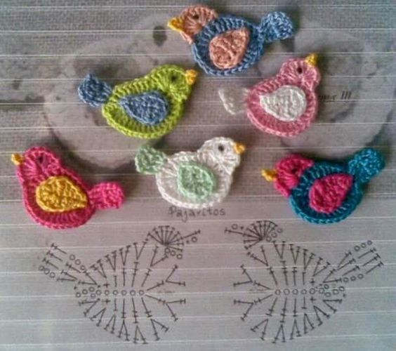 Crochet Birds Motifs Free Applique