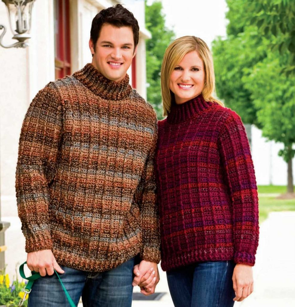 Free Crochet Pattern For A His And Hers Outdoor Sweater Crochet
