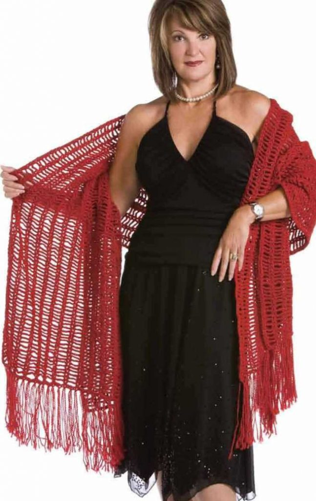Free Crochet Pattern for a Red Shawl