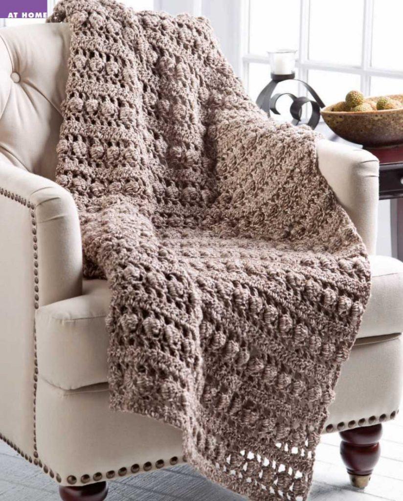 Free Crochet Pattern for a Tree Bark Throw