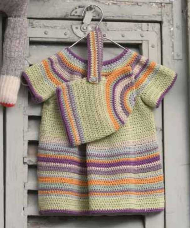 Free Crochet Pattern for a Baby Dress and Hat Set