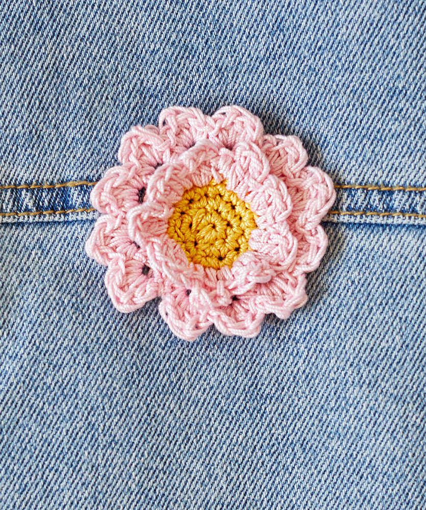 Free Crochet Pattern for a Cherry Blossom Appliqué