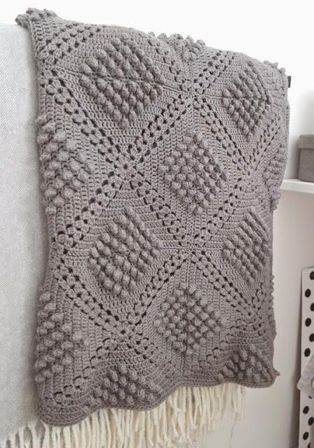 Free Crochet Pattern for a Diamond Bobble Blanket