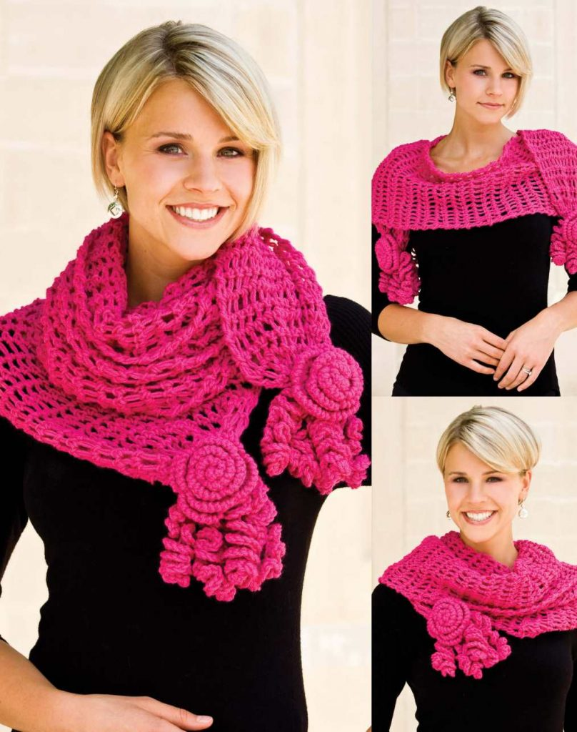 Free Crochet Pattern for a Roses and Lace Scarf