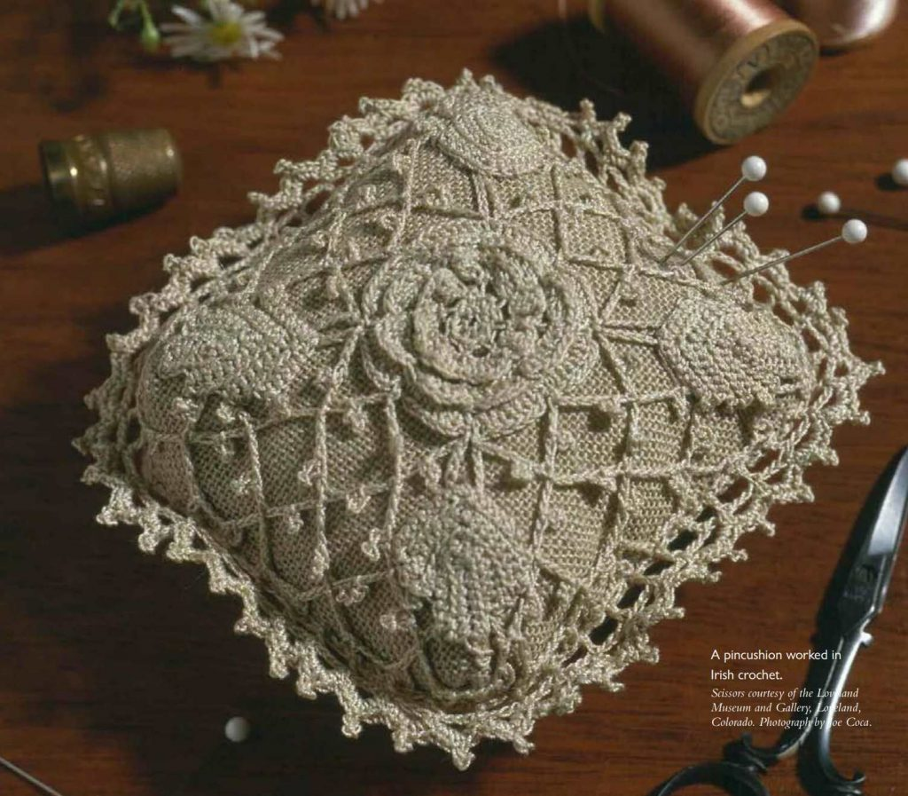 Free Pattern for an Irish Crochet Pincushion