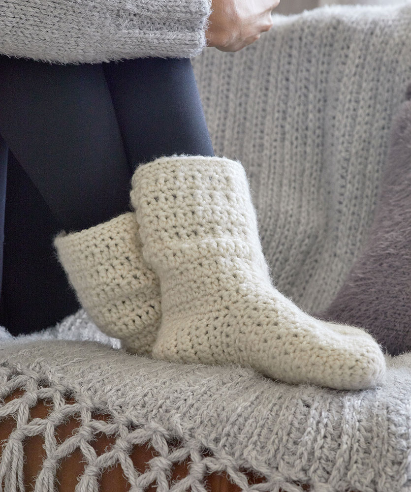 Free Crochet Pattern for At Home Slouchy Socks