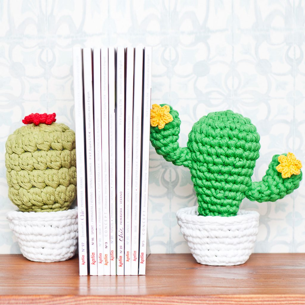 Free Crochet Pattern for Cactus Bookends