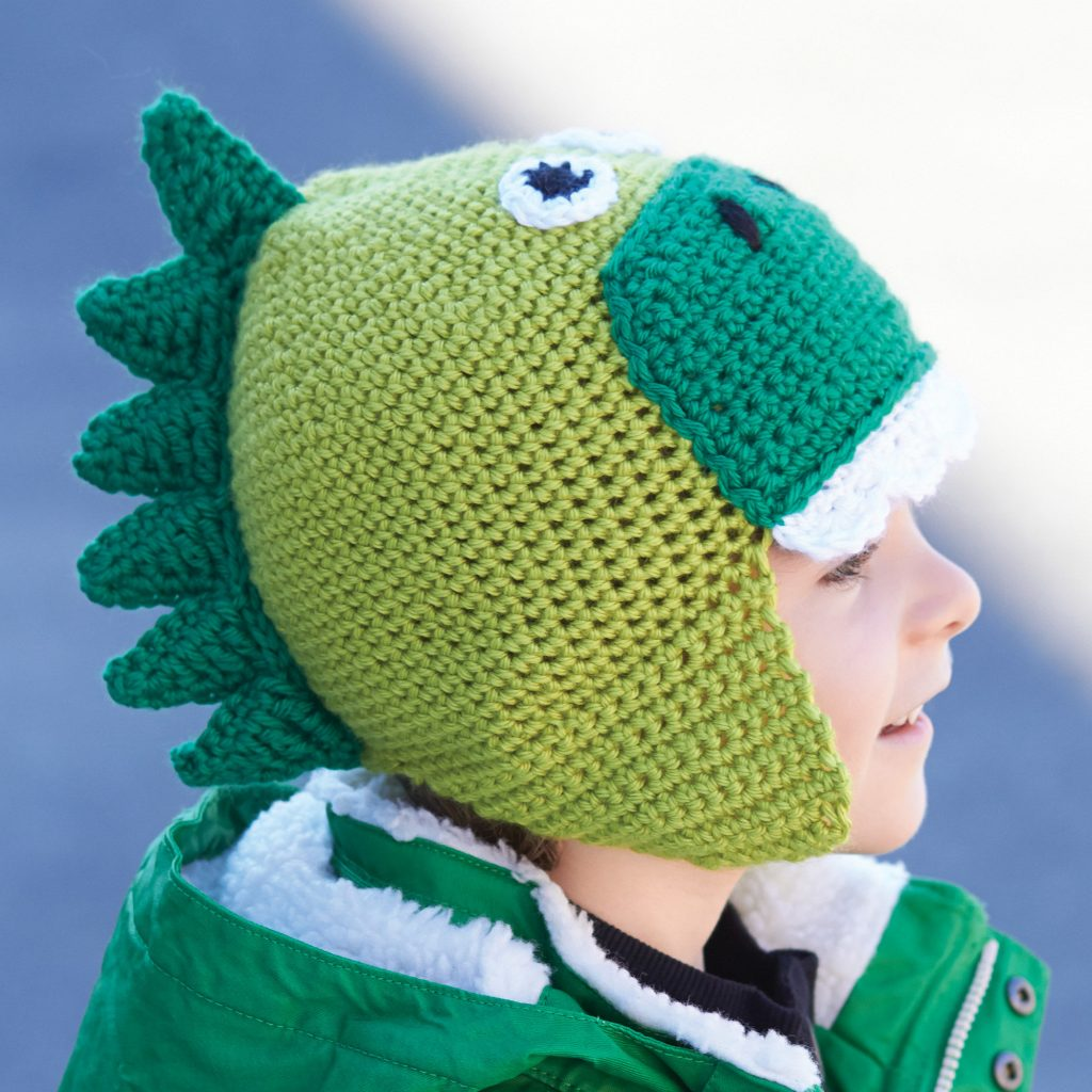 Free Crochet Pattern for a Kids Hatosaurus. Kids hat to crochet with dinosaur look.