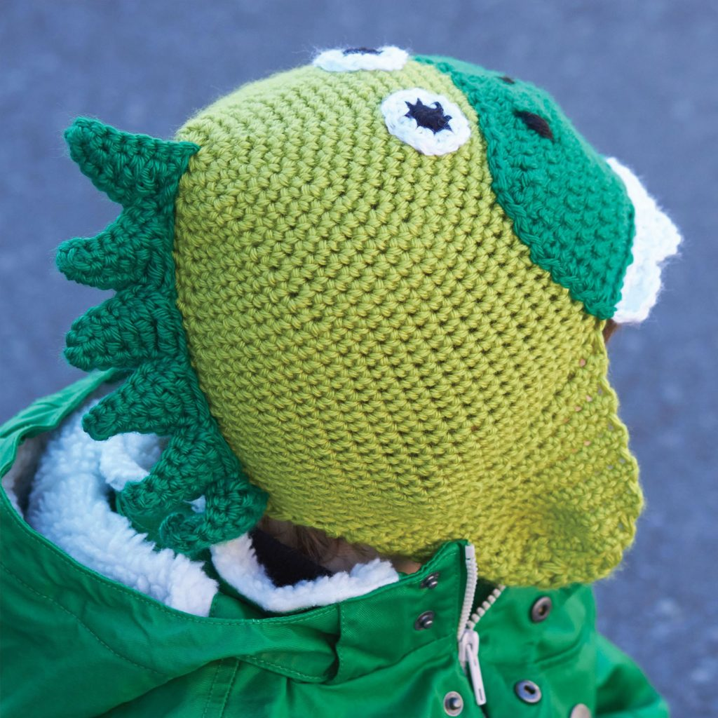 Free Crochet Pattern for a Kids Hatosaurus. Kids hat to crochet with dinosaur look.