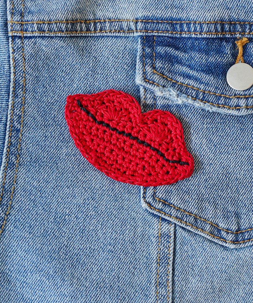 Free Crochet Pattern for a Kiss-able Lips Appliqué