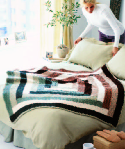 Free Crochet Pattern for a Log Cabin Quilt-Inspired Throw