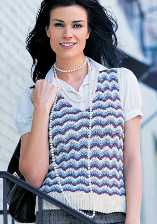 Free Crochet Pattern for a Savvy Sweater Vest. Crochet ripple stitch ladies vest.