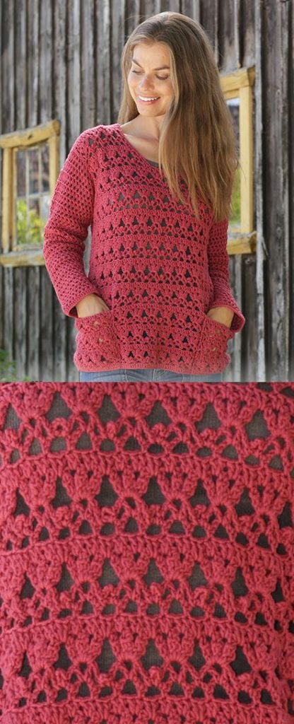 Free crochet pattern for a ladies sweater. Crochet sweater pattern worked with lace pattern, fans and pockets. #crochet #freecrochet #freepattern #freecrochetpattern