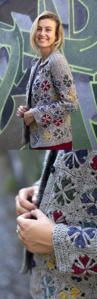 Free Crochet Pattern for a Mod Tiles Cardigan. Colorful , modern and chic women's cardigan to crochet free.