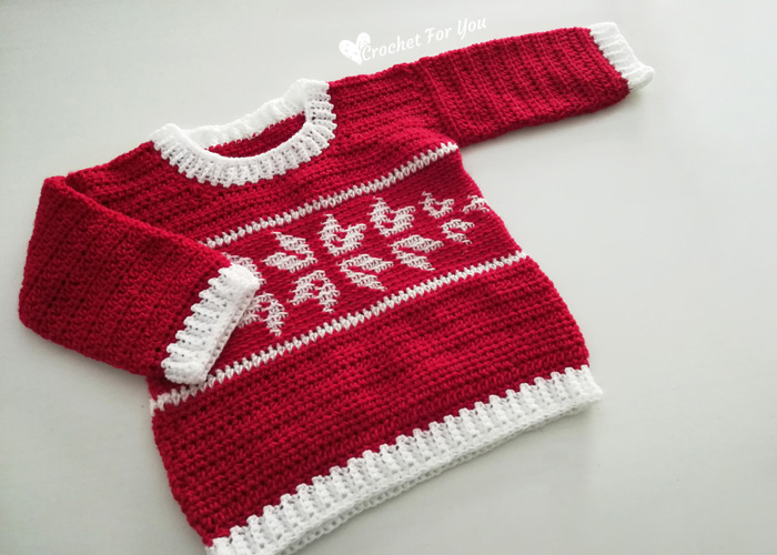 Free Crochet Pattern for a Winter Snowflake Baby Sweater