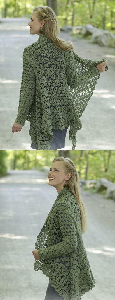 Free Knitting Pattern for a Jacket Green Envy. Beautiful jacket to crochet