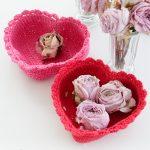 Free Crochet Pattern for a Heart Shaped Basket
