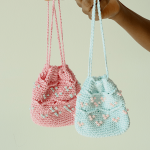 Free Crochet Pattern for a Beaded Mini Drawstring Pouch