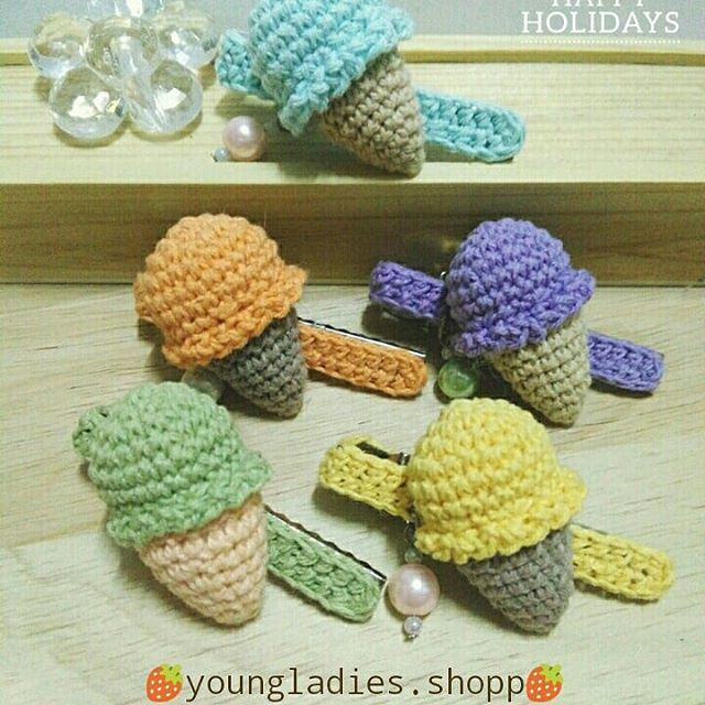 Free Crochet Pattern for Ice-Cream Hair Accessories