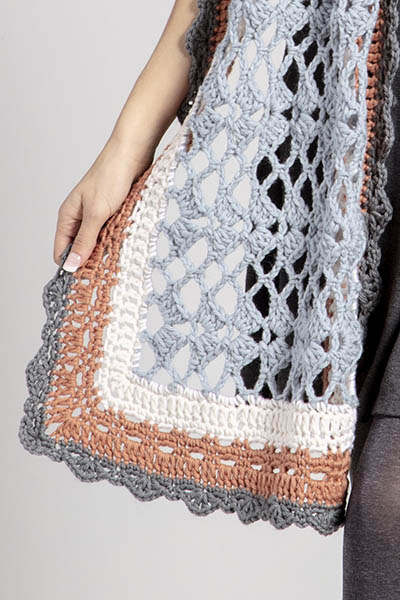 Free Crochet Pattern for a Ladies Wrap. A generous sized scarf with three borders.