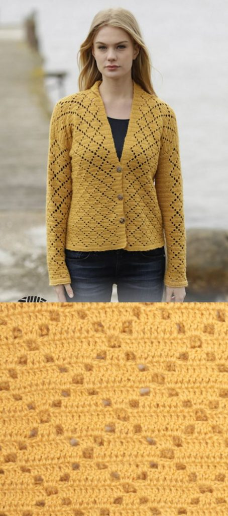Free Crochet Pattern for a Vintage Honeycomb Cardigan for Women