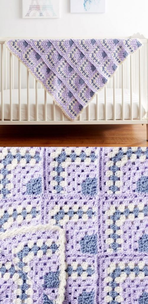 Free crochet baby balnket pattern with granny squares