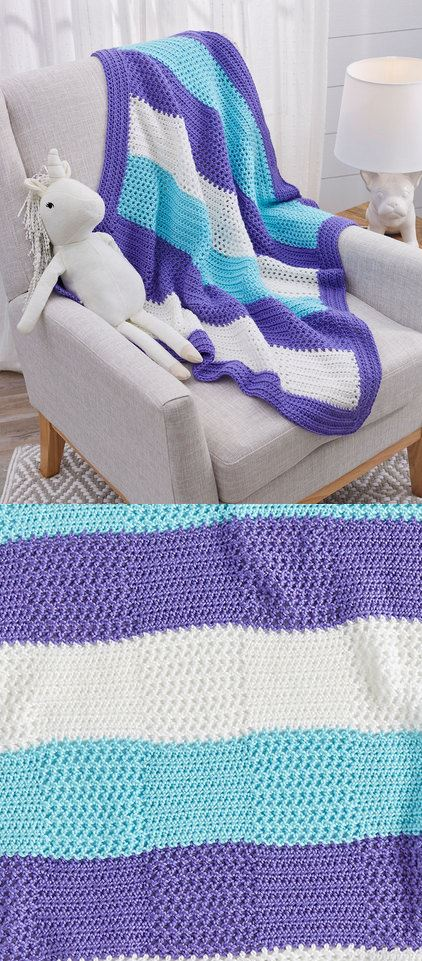 Free crochet pattern for a baby blanket with squares