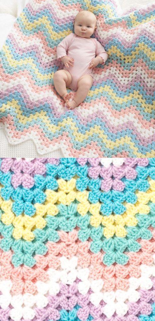 Free pattern chevron crochet blanket for baby