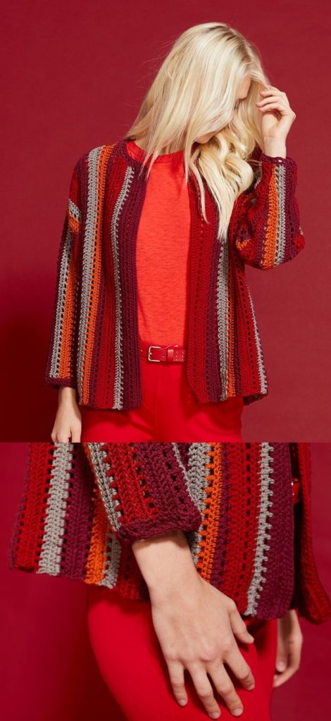 Free Crochet Pattern for a Barcelona Stripes Cardigan for Women