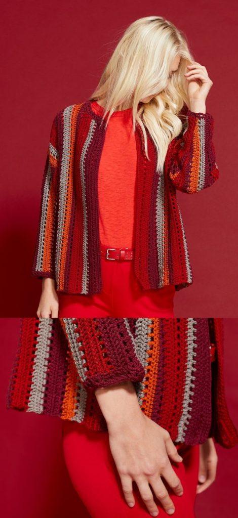 Free Crochet Pattern for a Barcelona Stripes Cardigan for Women