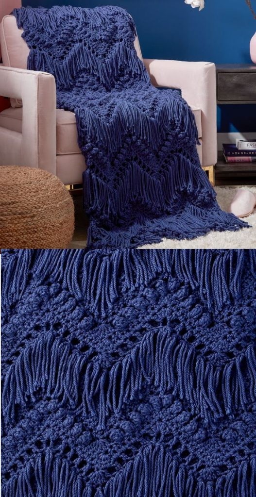 Free Crochet Pattern for a Bobble and Fringe Blanket