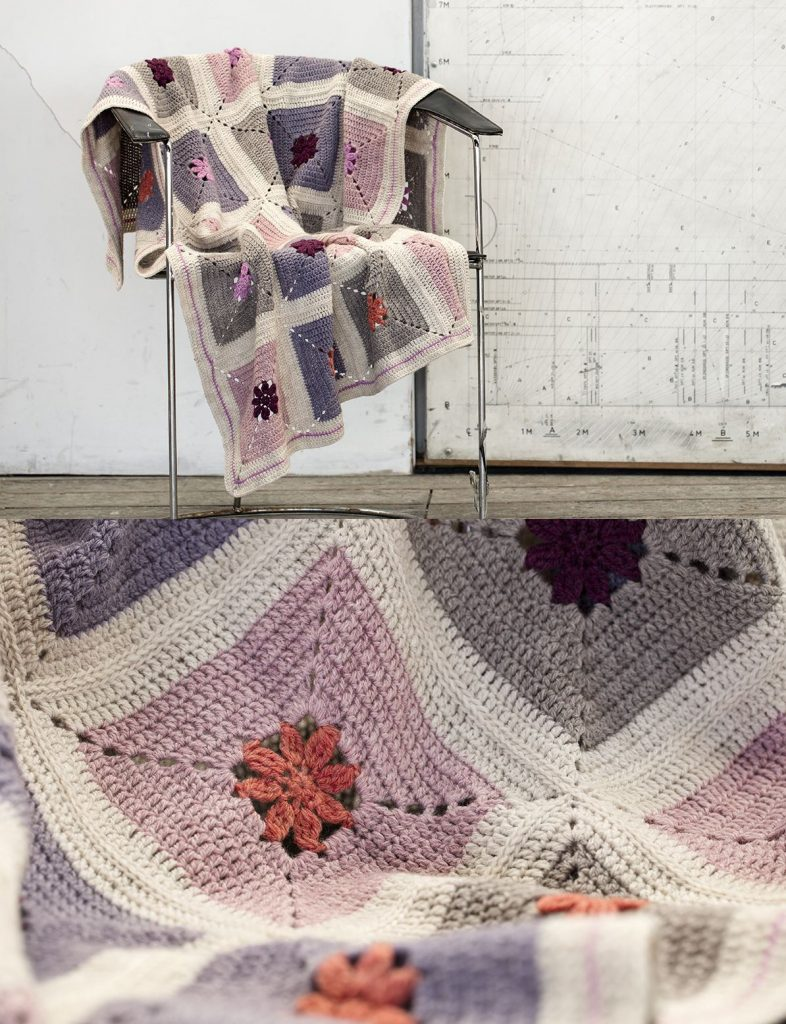 Free Crochet Pattern for a Crochet Afghan with Flowers