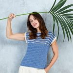 Free Crochet Pattern for a Ladies Top with a Striped Yoke