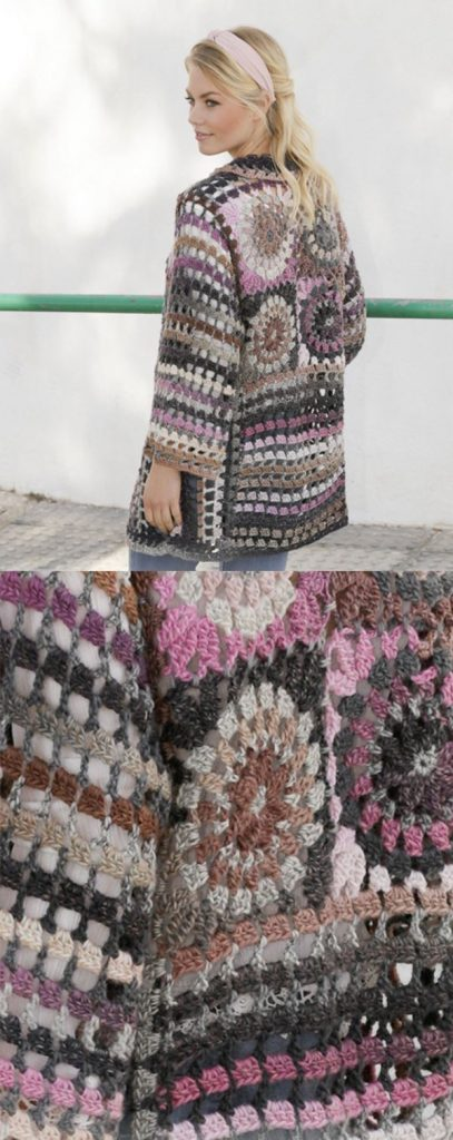 Free Crochet Pattern for a Long Jacket with Stripes and Squares