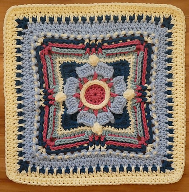 Free Crochet Pattern for a Magnolia CrossBow Afghan Square Block