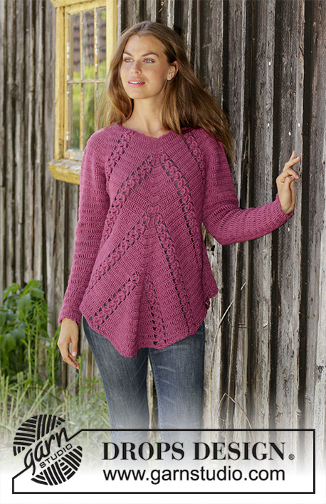 Free Crochet Pattern for a Raglan Sweater with Angled Fans and Lace