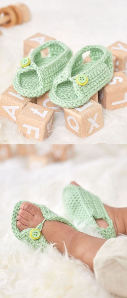Free Crochet Pattern for Unisex Sandals for Baby