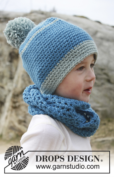 Crochet hat with pompom and neckwarmer for children free pattern